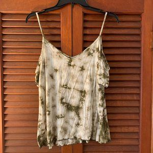 AEO Soft and Sexy Green Cold Shoulder Tye Die Top